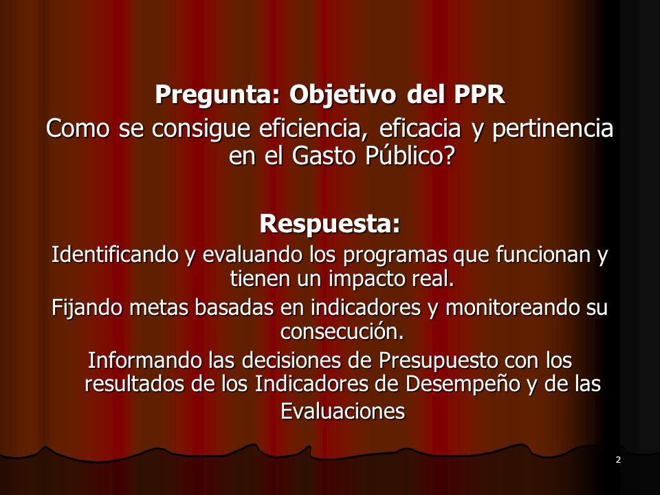 Pregunta: Objetivo del PPR