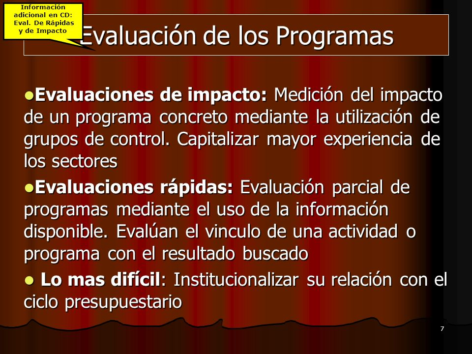 Evaluación de los Programas