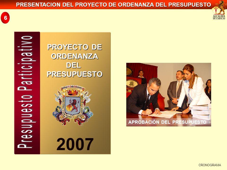 PRESENTACION DEL PROYECTO DE ORDENANZA DEL PRESUPUESTO