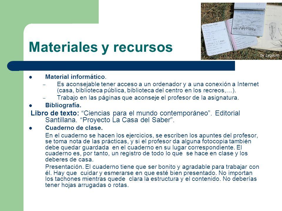 Materiales y recursos Material informático.