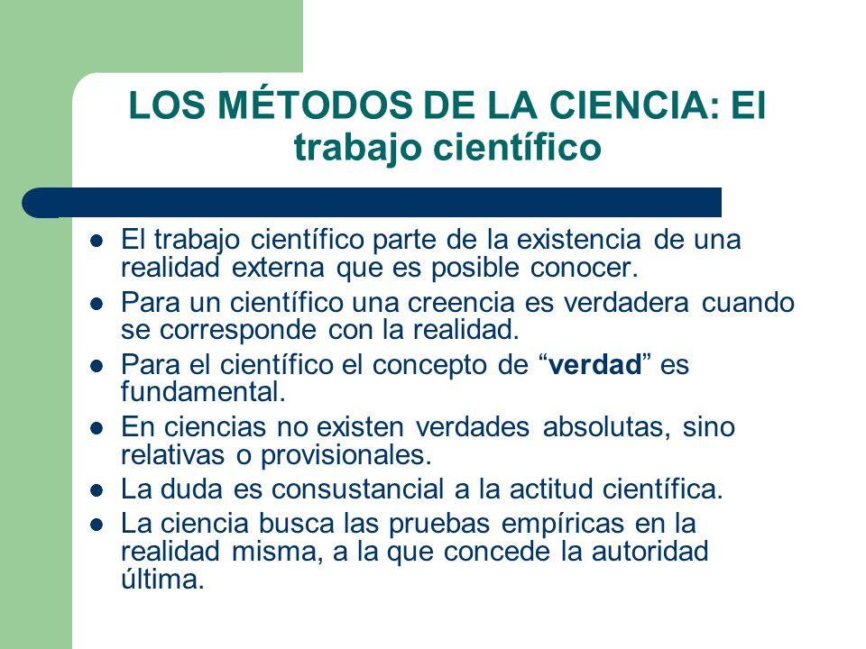 LOS MÉTODOS DE LA CIENCIA: El trabajo científico