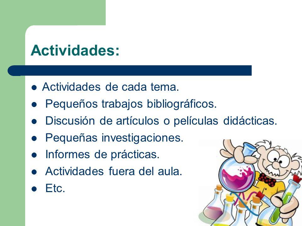 Actividades: Actividades de cada tema.