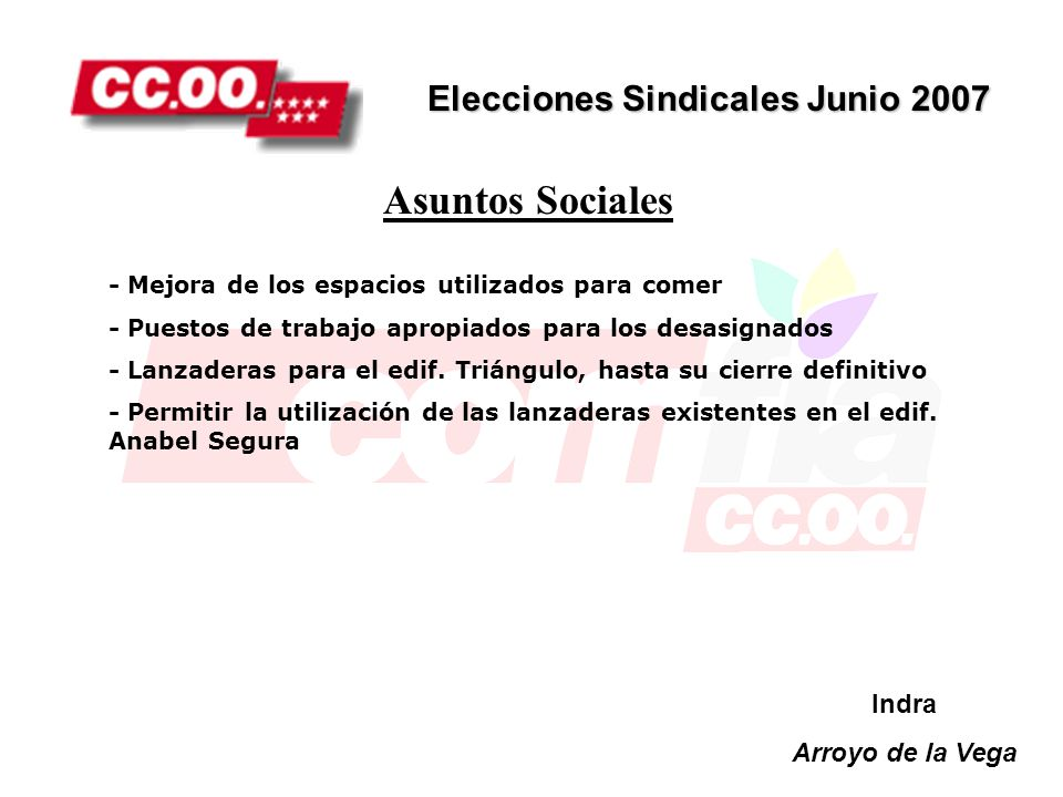 Asuntos Sociales Elecciones Sindicales Junio 2007 Indra