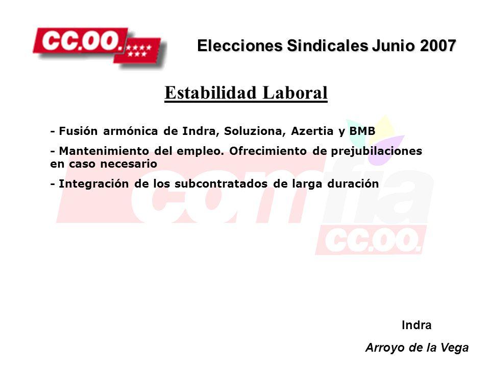 Estabilidad Laboral Elecciones Sindicales Junio 2007 Indra