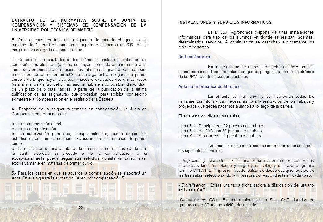 EXTRACTO DE LA NORMATIVA SOBRE LA JUNTA DE COMPENSACIÓN Y SISTEMAS DE COMPENSACIÓN DE LA UNIVERSIDAD POLITÉCNICA DE MADRID