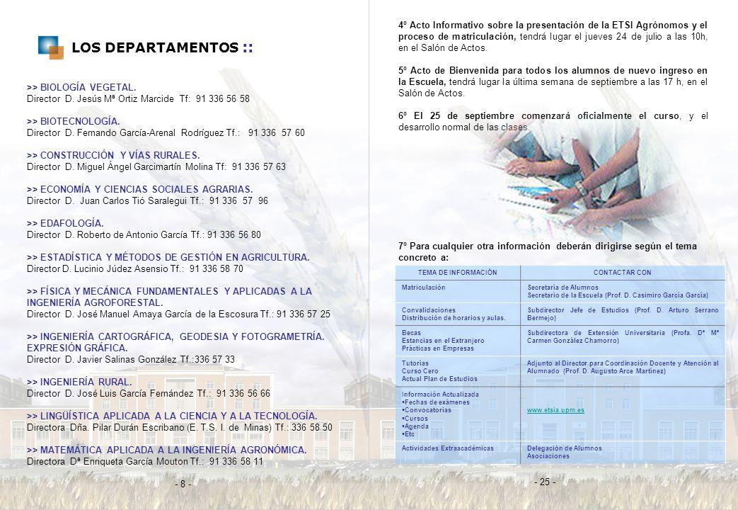 4º Acto Informativo sobre la presentación de la ETSI Agrónomos y el proceso de matriculación, tendrá lugar el jueves 24 de julio a las 10h, en el Salón de Actos.