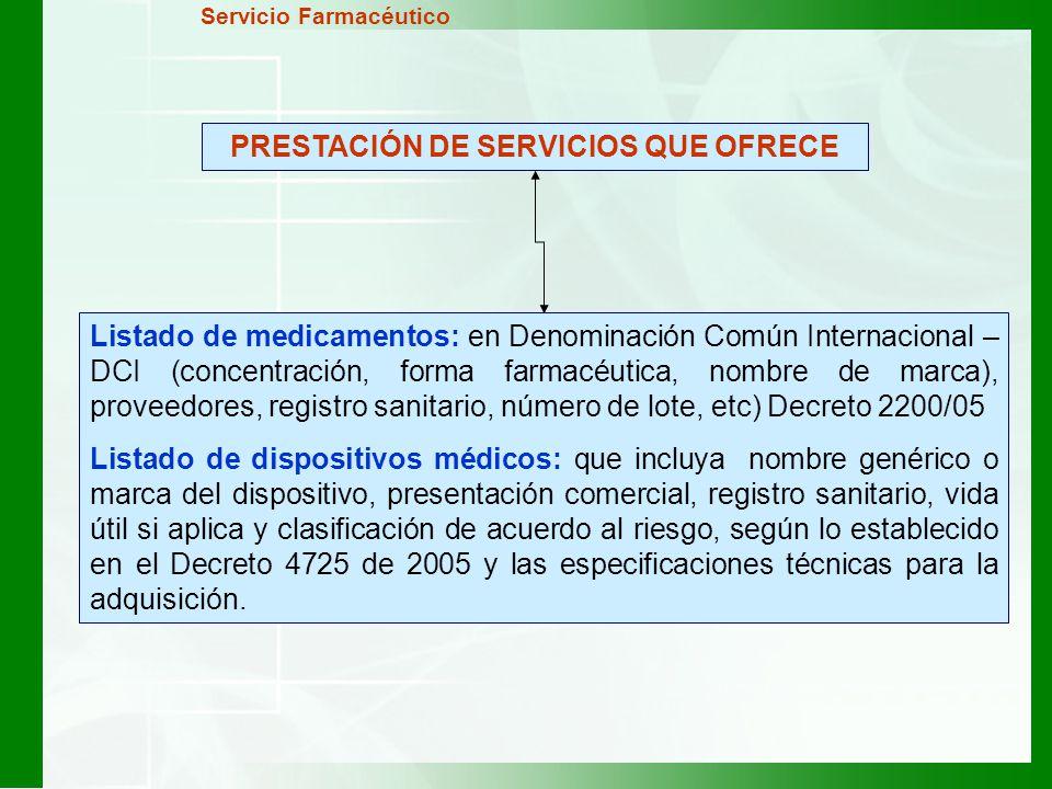 PRESTACIÓN DE SERVICIOS QUE OFRECE