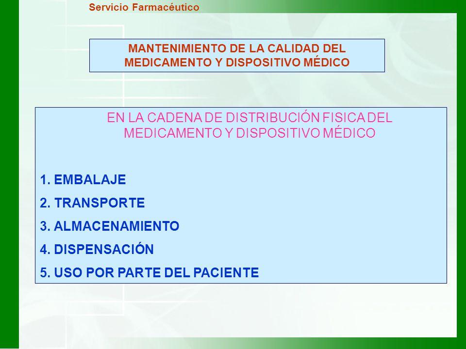 MANTENIMIENTO DE LA CALIDAD DEL MEDICAMENTO Y DISPOSITIVO MÉDICO