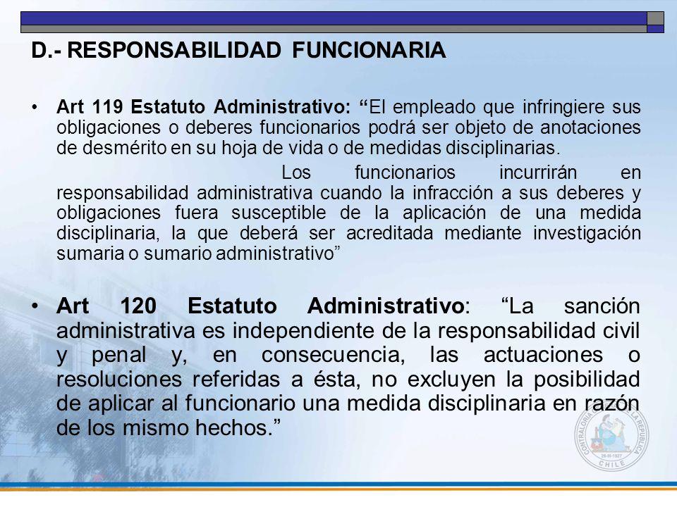 D.- RESPONSABILIDAD FUNCIONARIA
