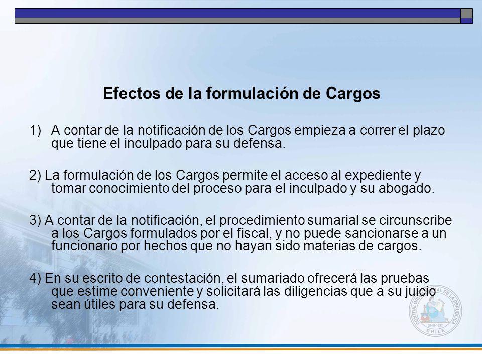 Efectos de la formulación de Cargos