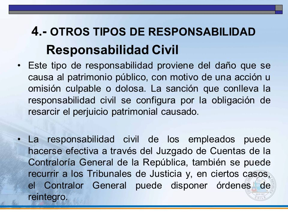 4.- OTROS TIPOS DE RESPONSABILIDAD Responsabilidad Civil
