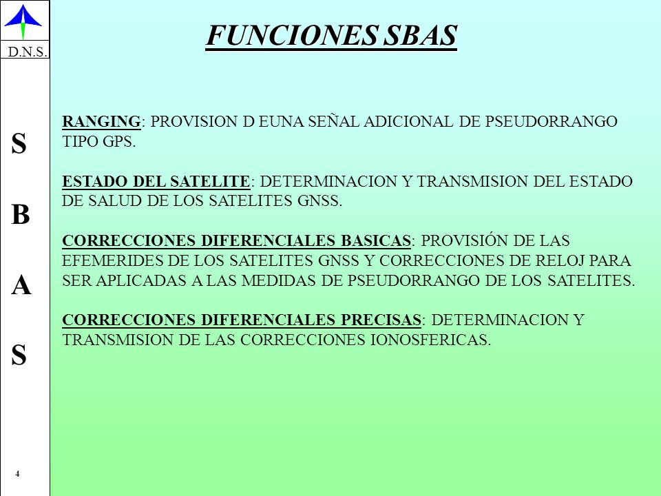 FUNCIONES SBAS RANGING: PROVISION D EUNA SEÑAL ADICIONAL DE PSEUDORRANGO. TIPO GPS. ESTADO DEL SATELITE: DETERMINACION Y TRANSMISION DEL ESTADO.