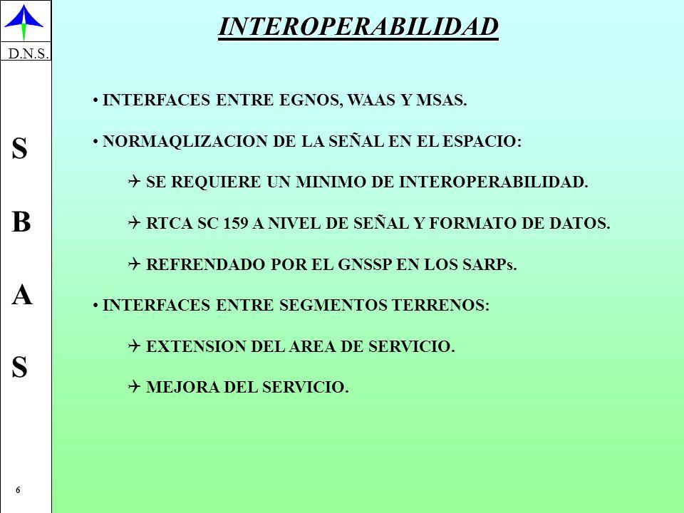 INTEROPERABILIDAD INTERFACES ENTRE EGNOS, WAAS Y MSAS.