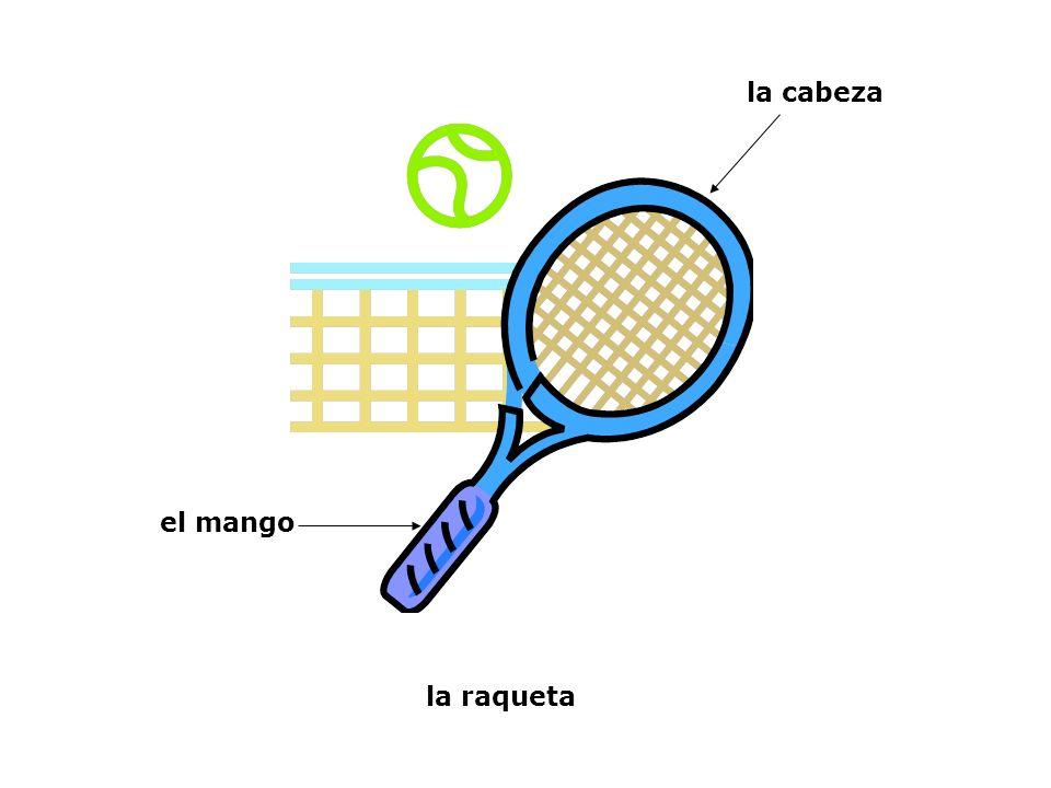 la cabeza el mango la raqueta