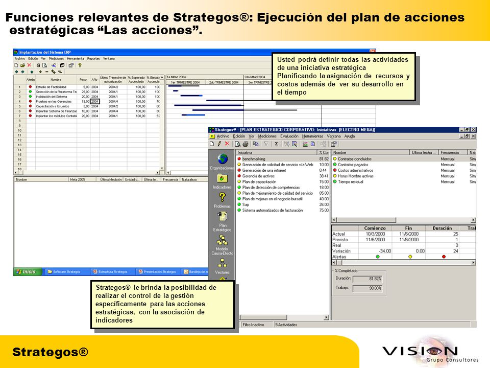 Funciones relevantes de Strategos®: Ejecución del plan de acciones
