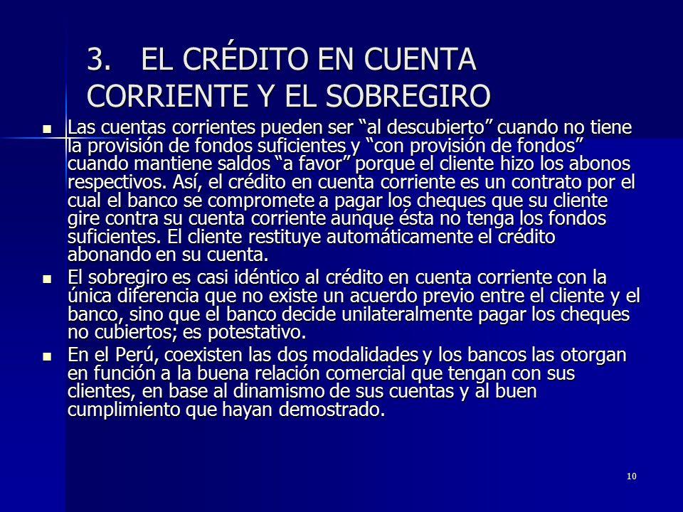 3. EL CRÉDITO EN CUENTA CORRIENTE Y EL SOBREGIRO