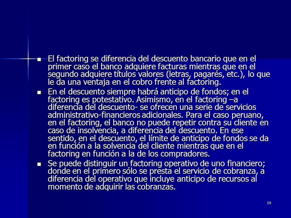 El factoring se diferencia del descuento bancario que en el primer caso el banco adquiere facturas mientras que en el segundo adquiere títulos valores (letras, pagarés, etc.), lo que le da una ventaja en el cobro frente al factoring.