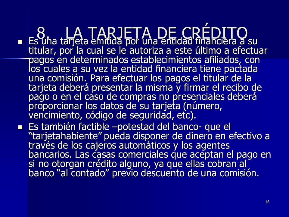 8. LA TARJETA DE CRÉDITO
