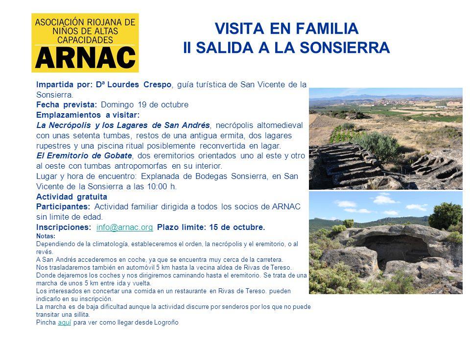 VISITA EN FAMILIA II SALIDA A LA SONSIERRA
