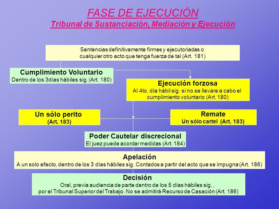 FASE DE EJECUCIÓN Tribunal de Sustanciación, Mediación y Ejecución