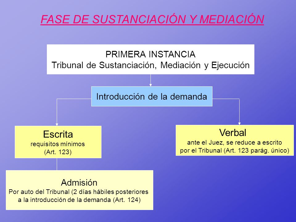 FASE DE SUSTANCIACIÓN Y MEDIACIÓN