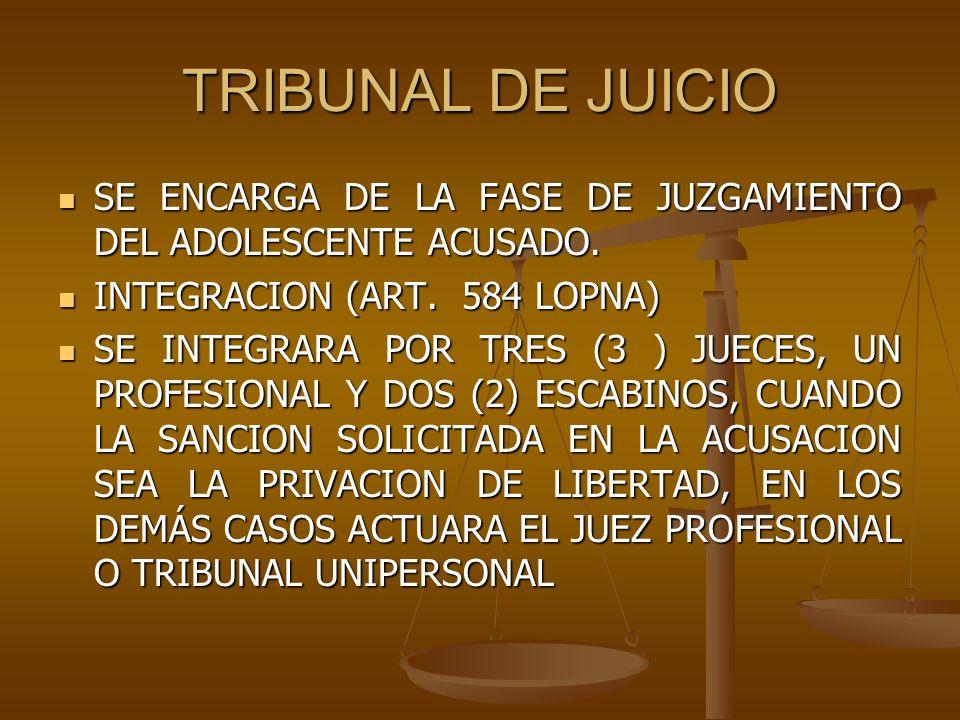 TRIBUNAL DE JUICIO SE ENCARGA DE LA FASE DE JUZGAMIENTO DEL ADOLESCENTE ACUSADO. INTEGRACION (ART. 584 LOPNA)