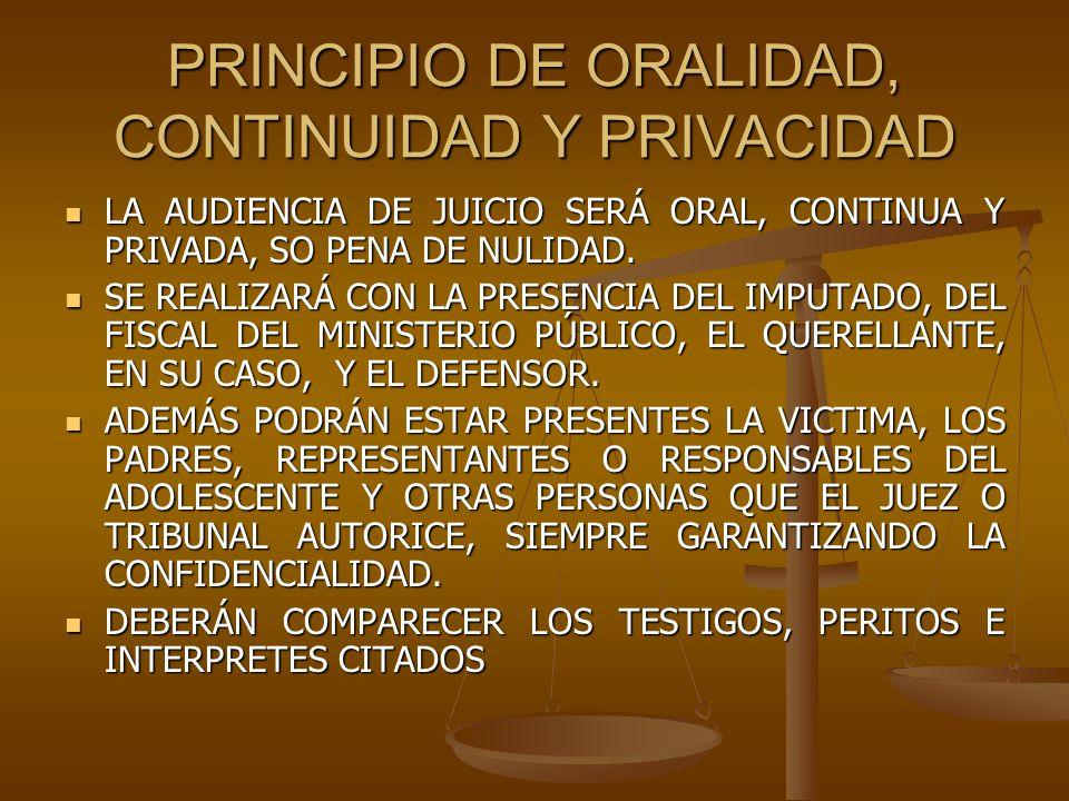 PRINCIPIO DE ORALIDAD, CONTINUIDAD Y PRIVACIDAD