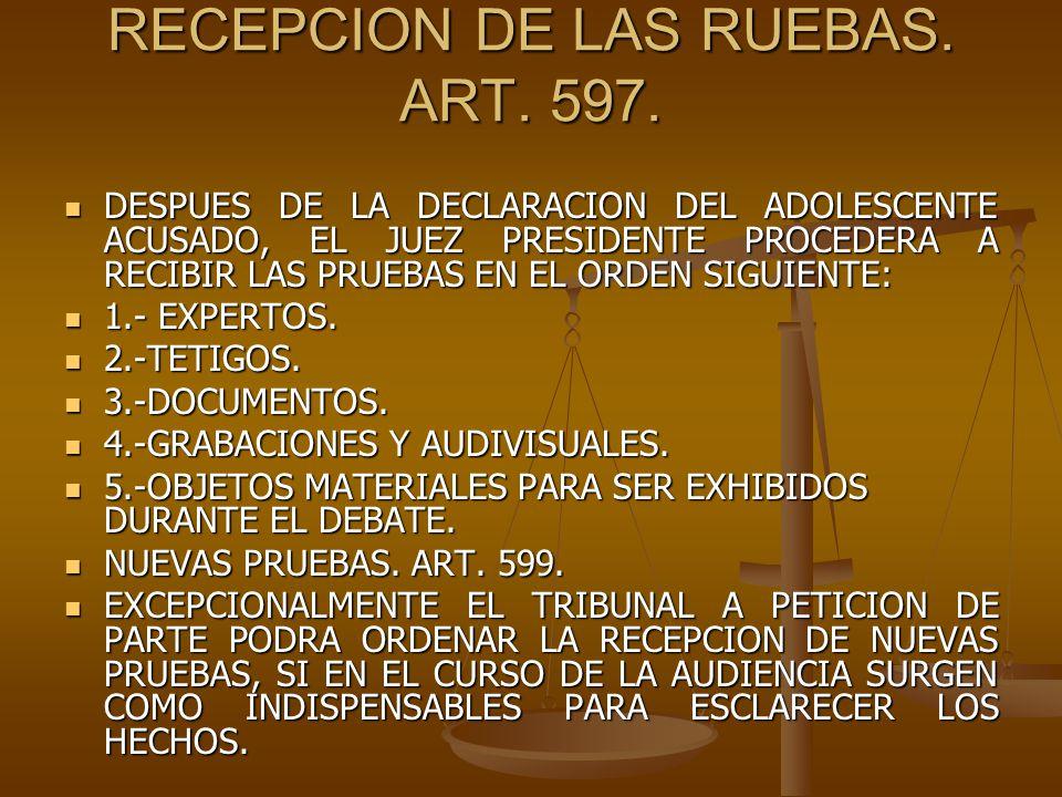 RECEPCION DE LAS RUEBAS. ART. 597.