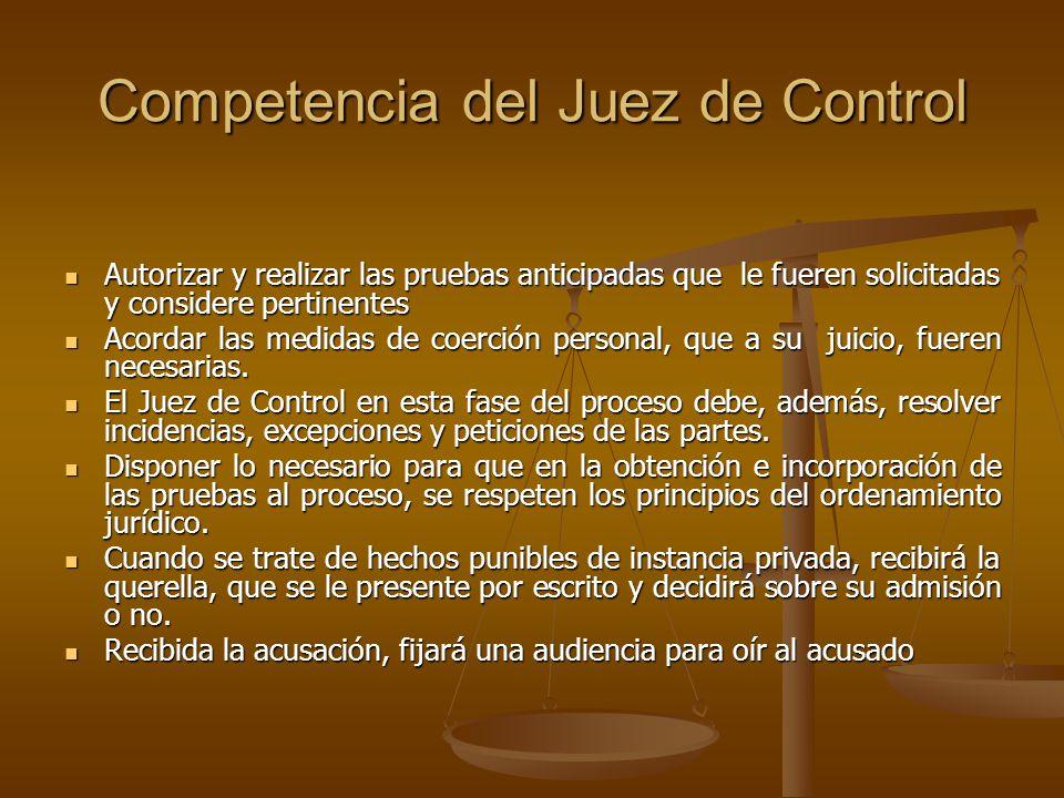 Competencia del Juez de Control