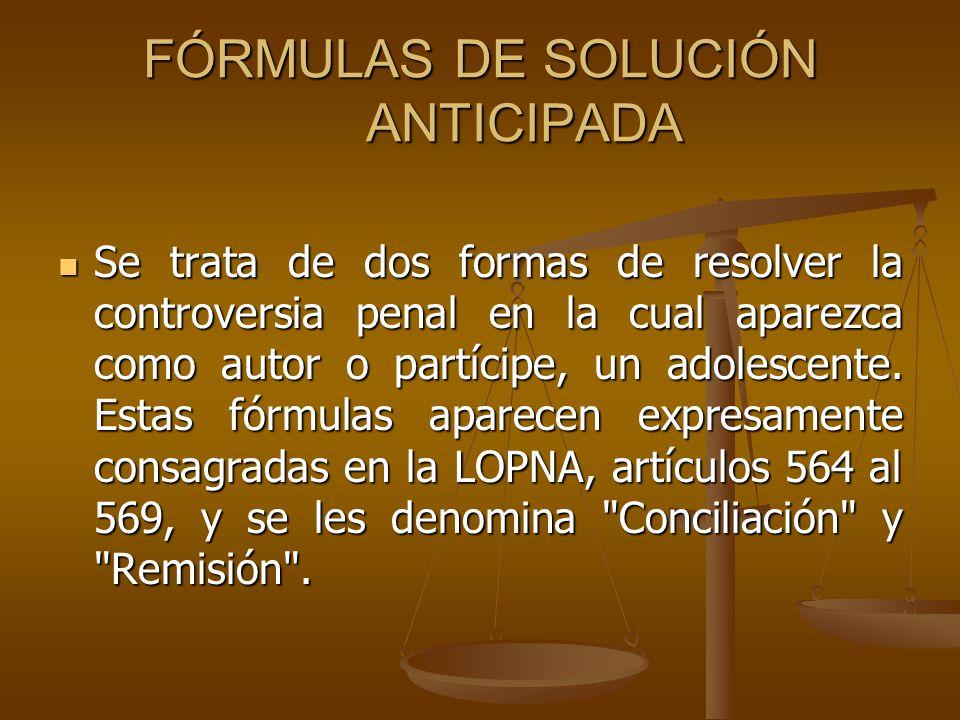 FÓRMULAS DE SOLUCIÓN ANTICIPADA