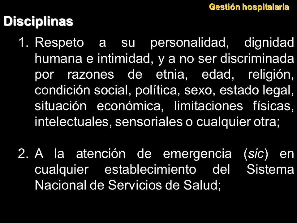 Gestión hospitalaria Disciplinas.