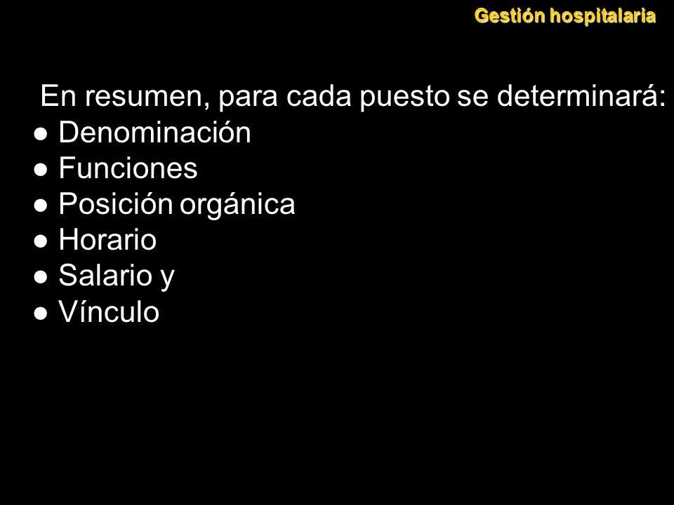 En resumen, para cada puesto se determinará: ● Denominación