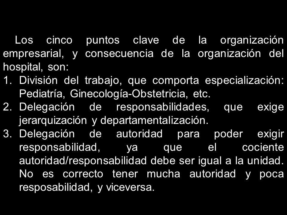 Los cinco puntos clave de la organización empresarial, y consecuencia de la organización del hospital, son: