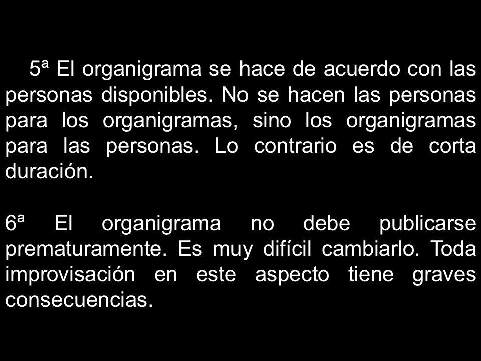 5ª El organigrama se hace de acuerdo con las personas disponibles