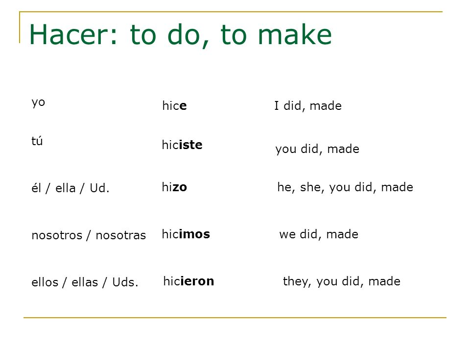 Hacer: to do, to make yo hice I did, made tú hiciste you did, made