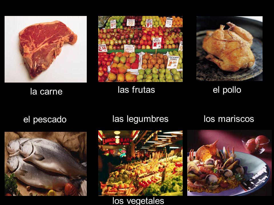 las frutas el pollo la carne el pescado las legumbres los mariscos los vegetales