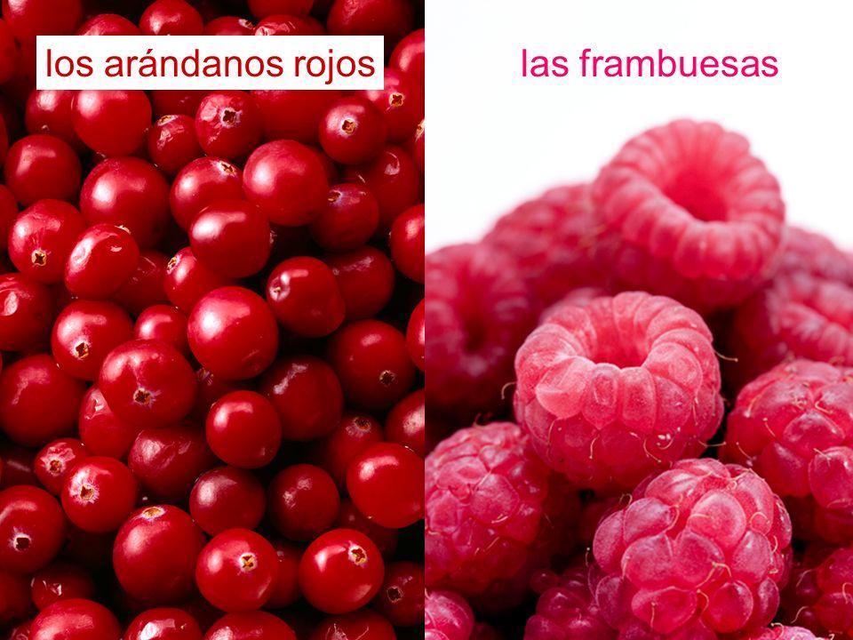 los arándanos rojos las frambuesas