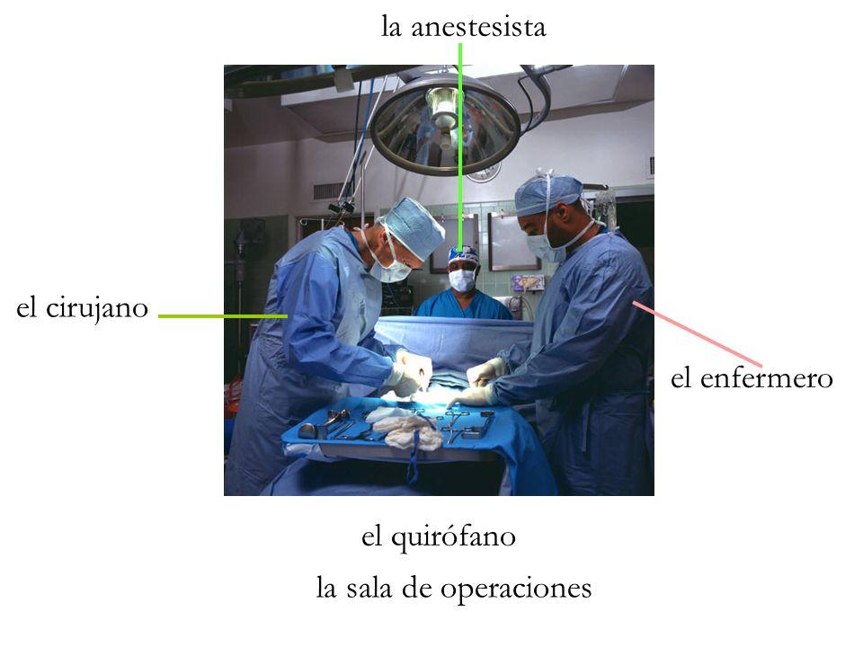 la anestesista el cirujano el enfermero el quirófano la sala de operaciones