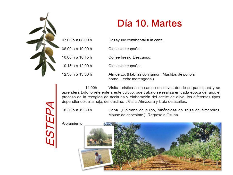 Día 10. Martes 07.00 h a 08.00 h Desayuno continental a la carta. 08.00 h a 10.00 h Clases de español.
