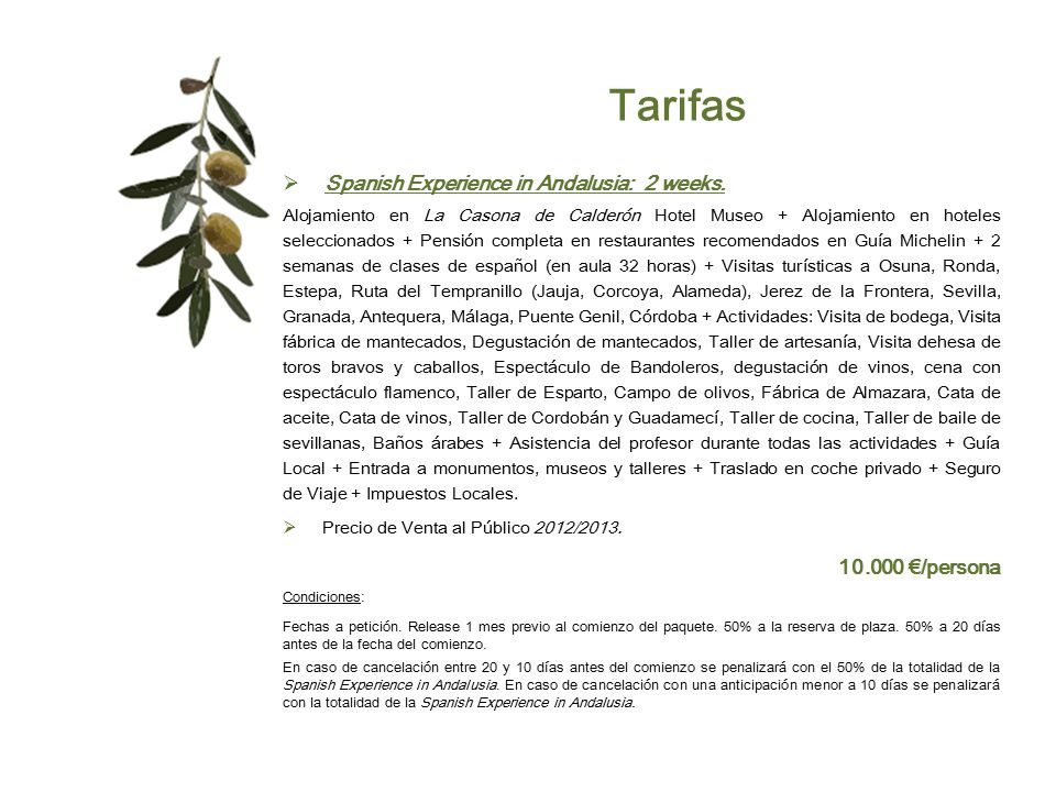 Tarifas Spanish Experience in Andalusia: 2 weeks. 10.000 €/persona