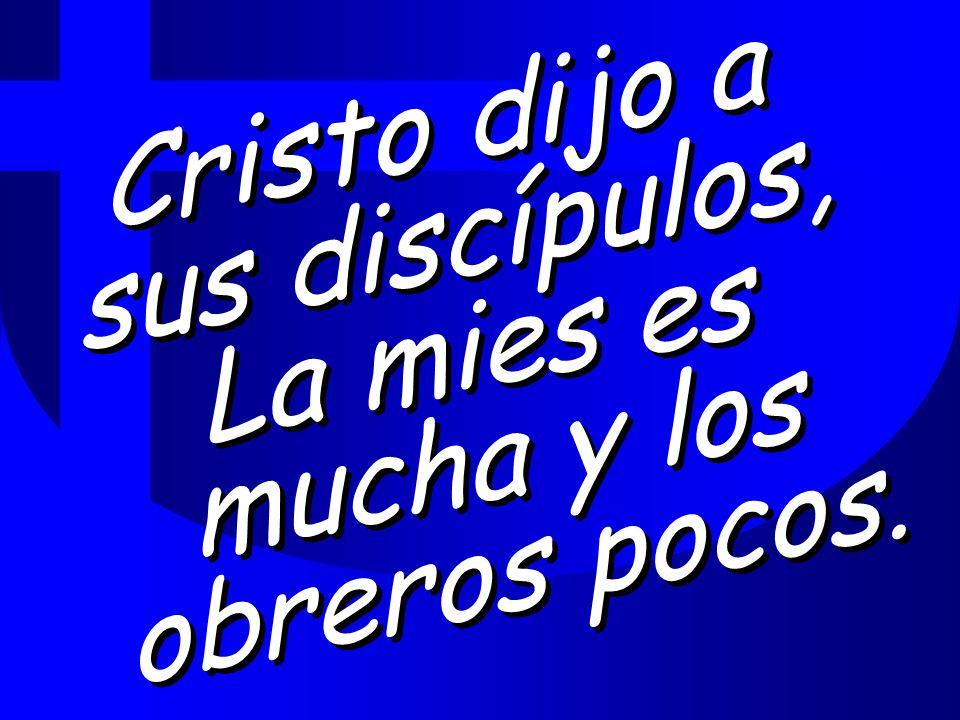Cristo dijo a sus discípulos, La mies es mucha y los obreros pocos.