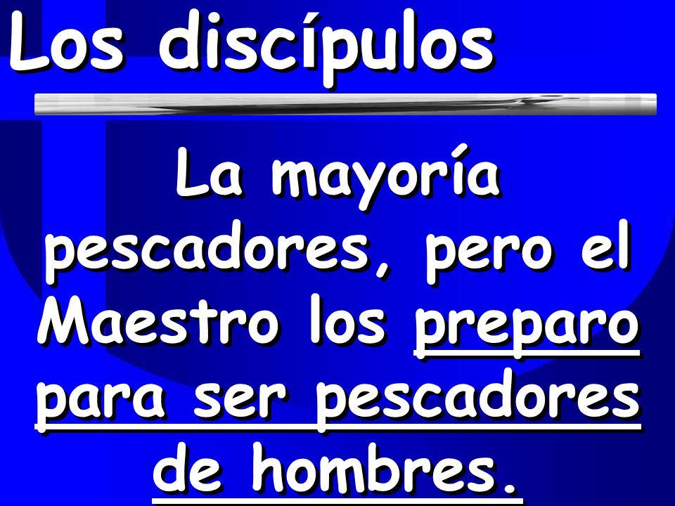 Los discípulos La mayoría pescadores, pero el Maestro los preparo para ser pescadores de hombres.