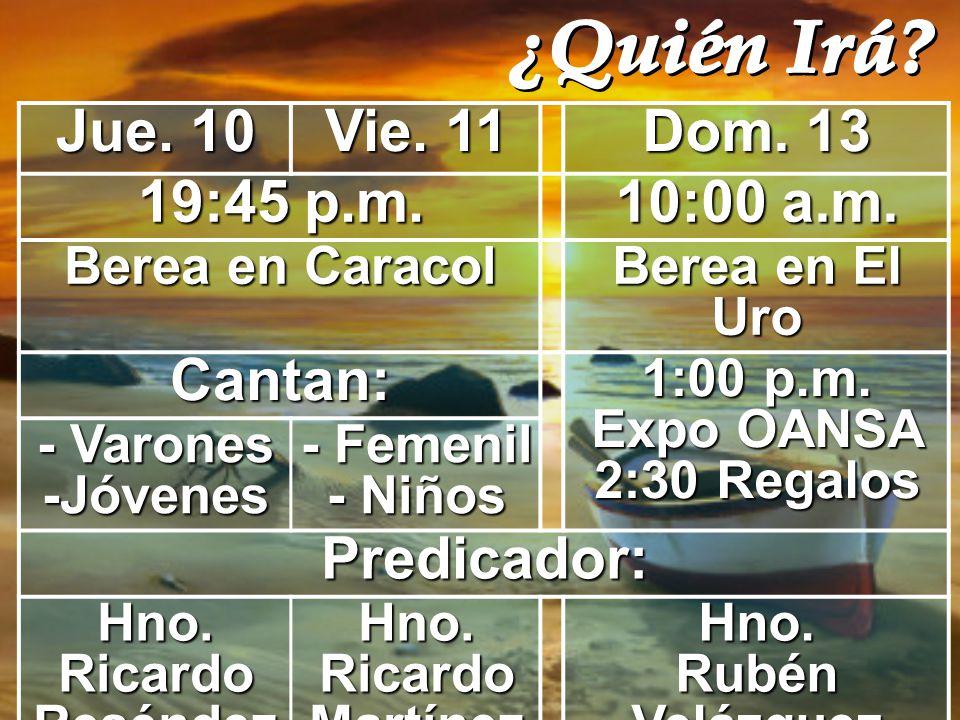 1:00 p.m. Expo OANSA 2:30 Regalos