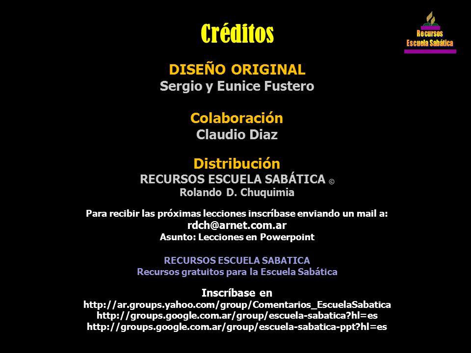 Créditos DISEÑO ORIGINAL Colaboración Distribución