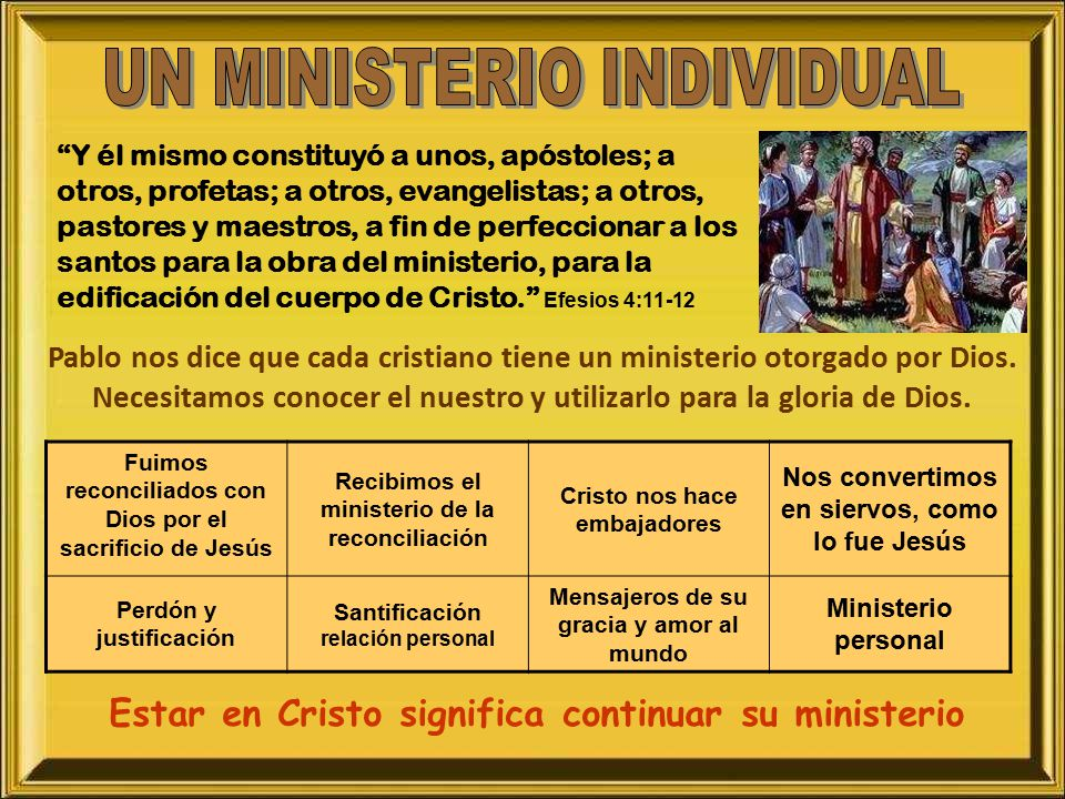 UN MINISTERIO INDIVIDUAL
