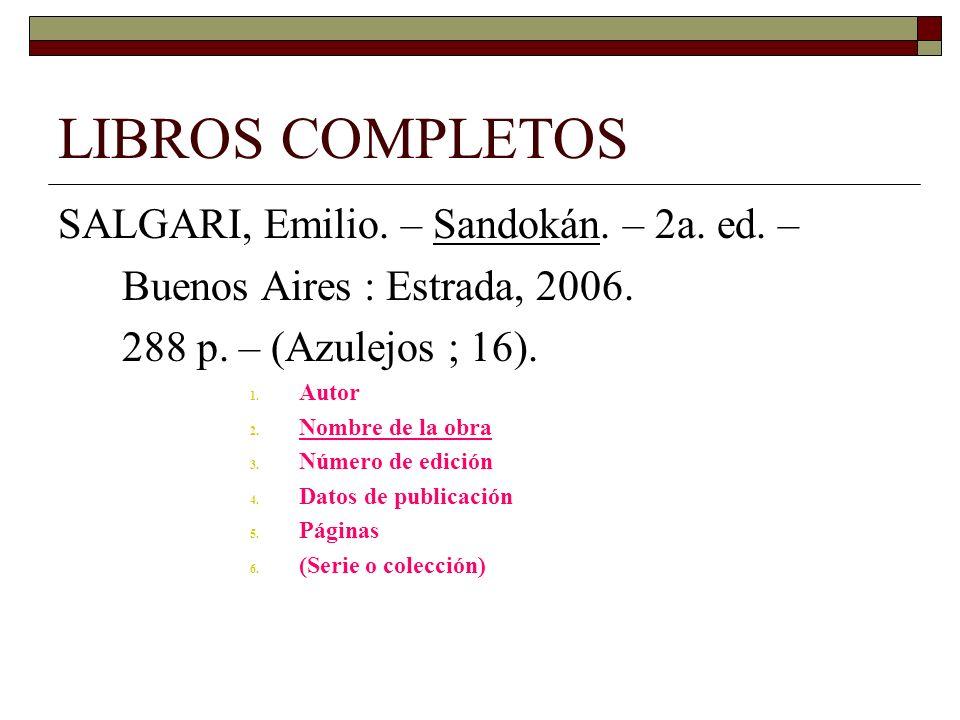 LIBROS COMPLETOS SALGARI, Emilio. – Sandokán. – 2a. ed. –