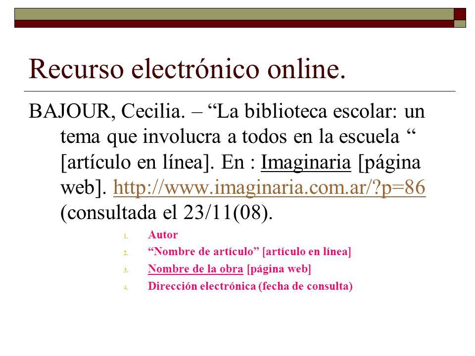 Recurso electrónico online.