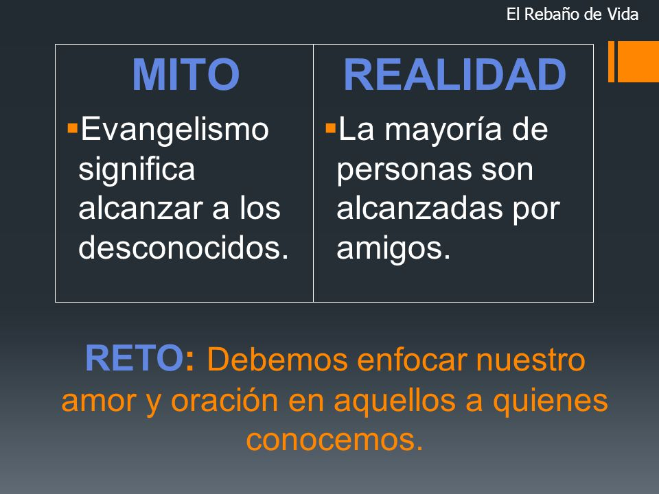 El Rebaño de Vida MITO. Evangelismo significa alcanzar a los desconocidos. REALIDAD. La mayoría de personas son alcanzadas por amigos.