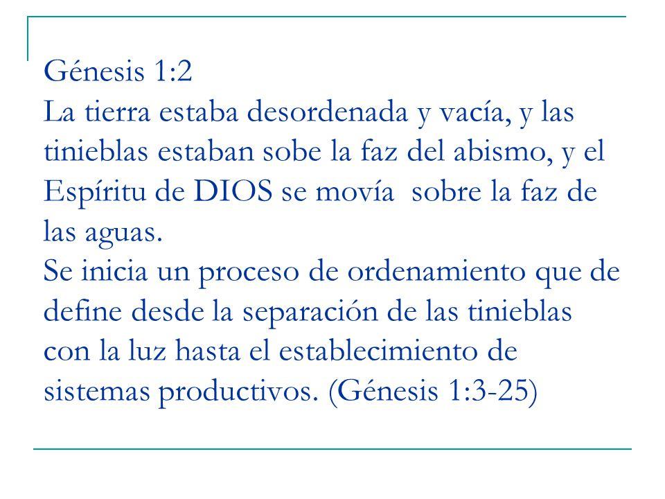Génesis 1:2 La tierra estaba desordenada y vacía, y las tinieblas estaban sobe la faz del abismo, y el Espíritu de DIOS se movía sobre la faz de las aguas.