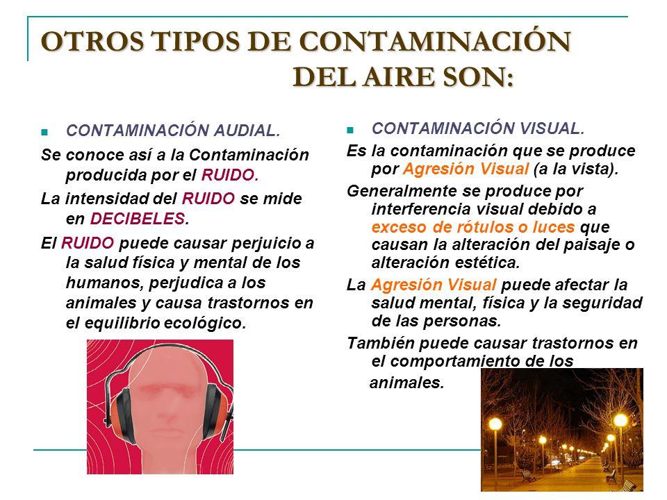 OTROS TIPOS DE CONTAMINACIÓN DEL AIRE SON: